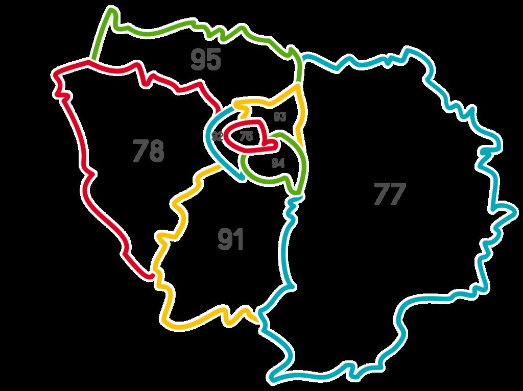Les départements d'Île-de-France
