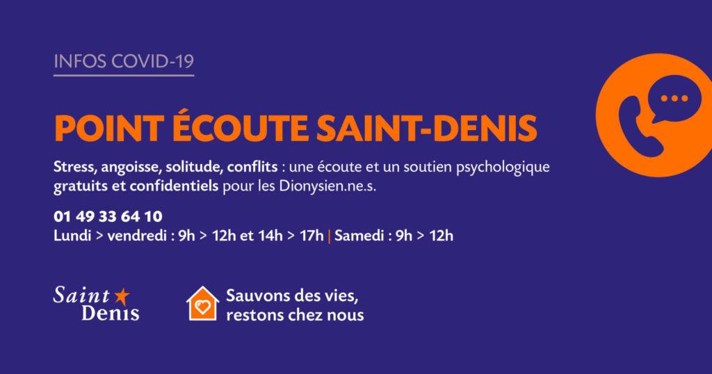 Point écoute Saint Denis pour lutter contre le COVID-19